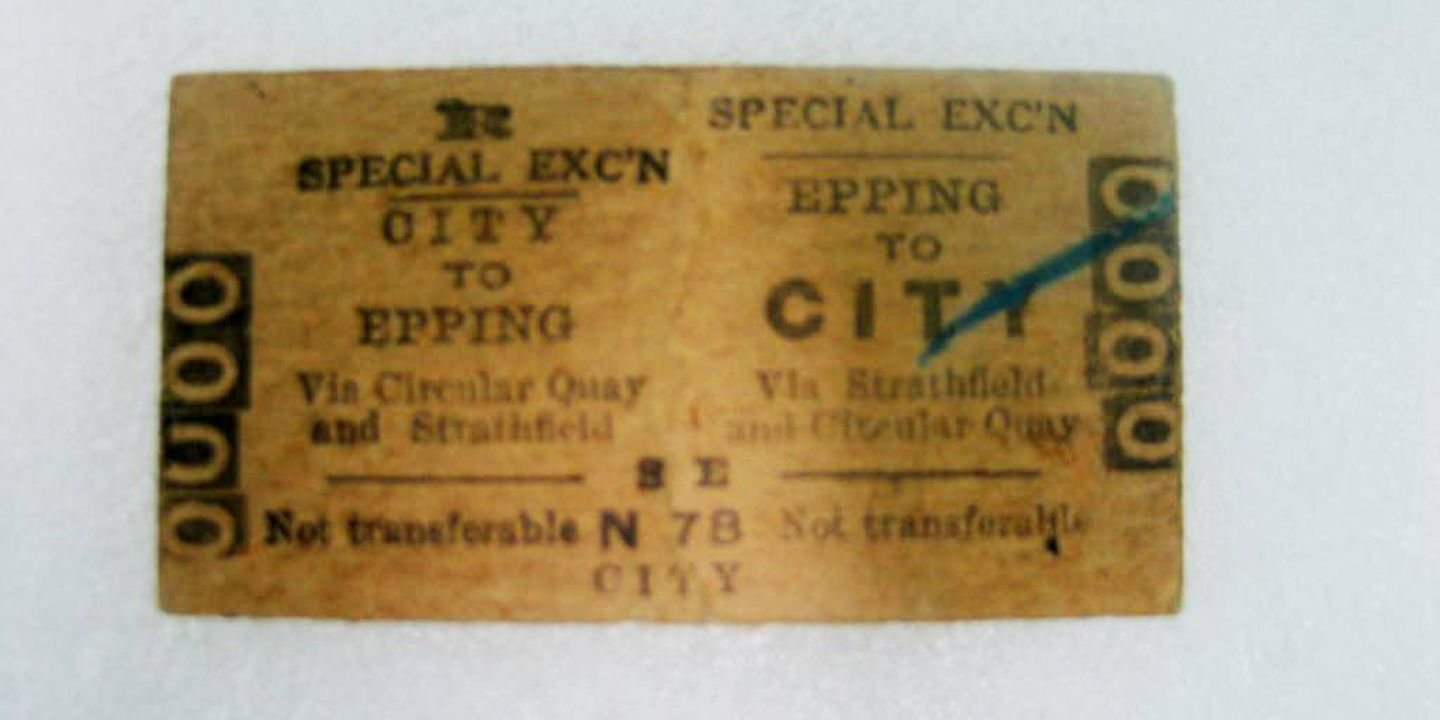 2004/129/1 Train ticket, Edmondson type, City to Epping return via Circular Quay and Strathfield, serial number 0000, pasteboard, printed by New South Wales Government Printing Office, Ultimo, Sydney, Australia, 1956, used by Philip Beer, first day of service Circular Quay railway station, 22 Januar. Click to enlarge.