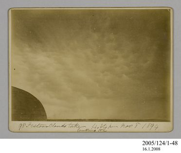 2005/124/1-48 Photograph, part of collection owned by James Short, black and white, festoon clouds, mounted, card / paper, photographer unknown, Sydney, New South Wales, Australia, 8 November 1894