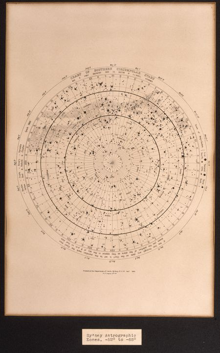 """P3549-14 Lithograph, framed, """"Sydney Astrographic Zone"""", paper/glass/metal, Department of Lands, Sydney, NSW, 1895. Click to enlarge."""