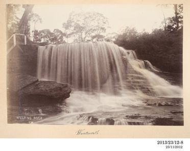 2013/23/12-8 Photographic positive, Weeping Rock, Wentworth Falls, silver gelatin / paper, photographer T.M., Blue Mountains, New South Wales, Australia, 1893-1920