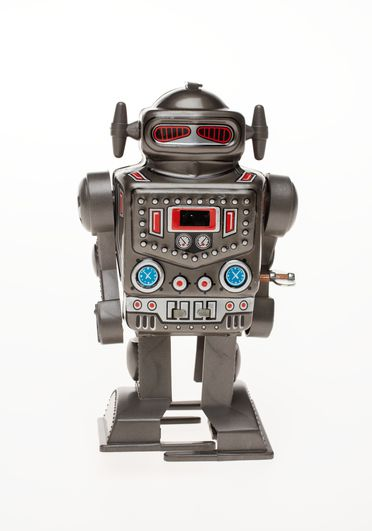 85/2573-48 Toy robot, 'Captain', clockwork operated, metal / plastic, made by Yoneya Toys Co Ltd, Japan, c. 1970