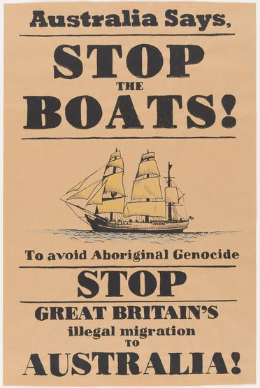 2016/47/10 Posters (2), 'Stop the boats!', paper / ink, designed and made by Peter Drew, Adelaide, South Australia, 2016