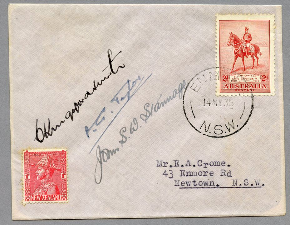 85/112-8 Philatelic cover, Jubilee air mail Australia to New Zealand, signed by Kingsford Smith, paper, sent by E Crome, Sydney, New South Wales, Australia, 1935. Click to enlarge.