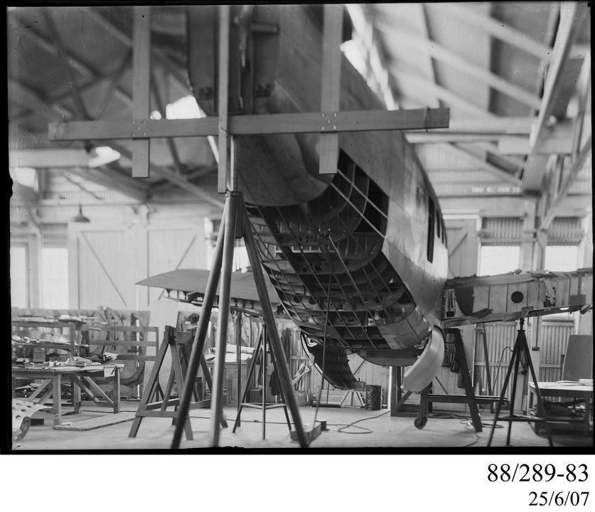 88/289-83 Photographic glass plate negative, depicting Lockheed Hudson aircraft fuselage skin replacement, at Aircraft Workshops, Clyde Engineering Co. Ltd, in Granville, New South Wales, Australia, 1940-1945. Click to enlarge.