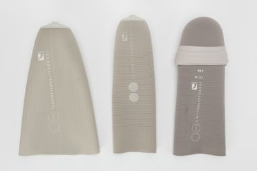 2015/39/6 Prosthetic socket liners (3), thermoplastic elastomer gel / silicone, made by Ossur, Iceland, 2014