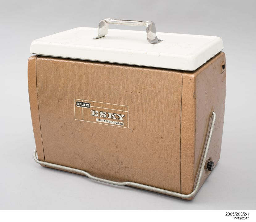 2005/203/2 Portable food and drink cooler with box, 'Esky', metal / plastic / cardboard, made by Malley's, used by Barbara Partridge, Australia, 1966-1969. Click to enlarge.