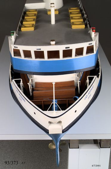 93/373/1 Ship model and display case, 'Lady Woodward', ferry, wood / metal / glass, made by apprentices of State Transit Ferries, Sydney, New South Wales, Australia, c. 1983