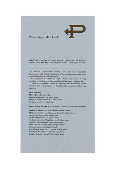 90/503-4/4 Report insert, 'Pioneer Sugar Mills Limited Annual Report 1968', special business circular, paper, designed by Alistair Morrison, Sydney, New South Wales, Australia, 1969