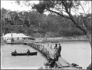 2008/165/1-153 Glass plate negative, depicting the wooden footbridge and former whaling station at Mosman Bay, Sydney, New South Wales, Australia, glass (1 of 193), photographer possibly Arthur Phillips, Australia, c.1890