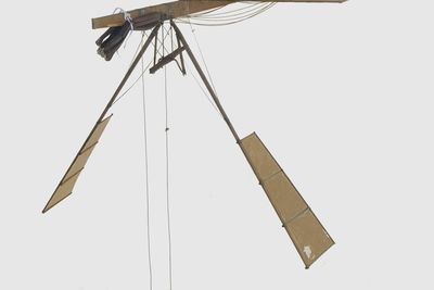 B113 Model flying machine, flapping wing 'Experiment L', paper / wood / rubber, made by Lawrence Hargrave, Rushcutters Bay, New South Wales, Australia, 1887