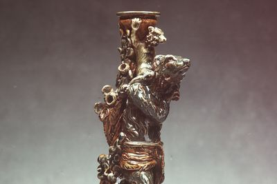 189A Candlestick, salt-glazed stoneware, designed by George Tinworth, decorated by Mary Ann Thomson, Doulton & Co., Lambeth, London, England, 1880-1882