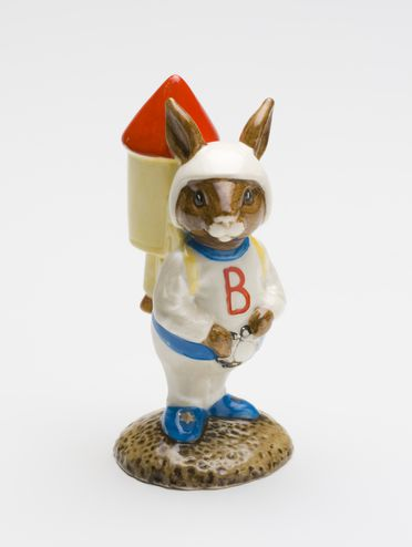 93/338/43 Bunnykins figure, 'Astro Bunnykins Rocket Man', DB20, earthenware, Royal Doulton Tableware Ltd, England, 1982