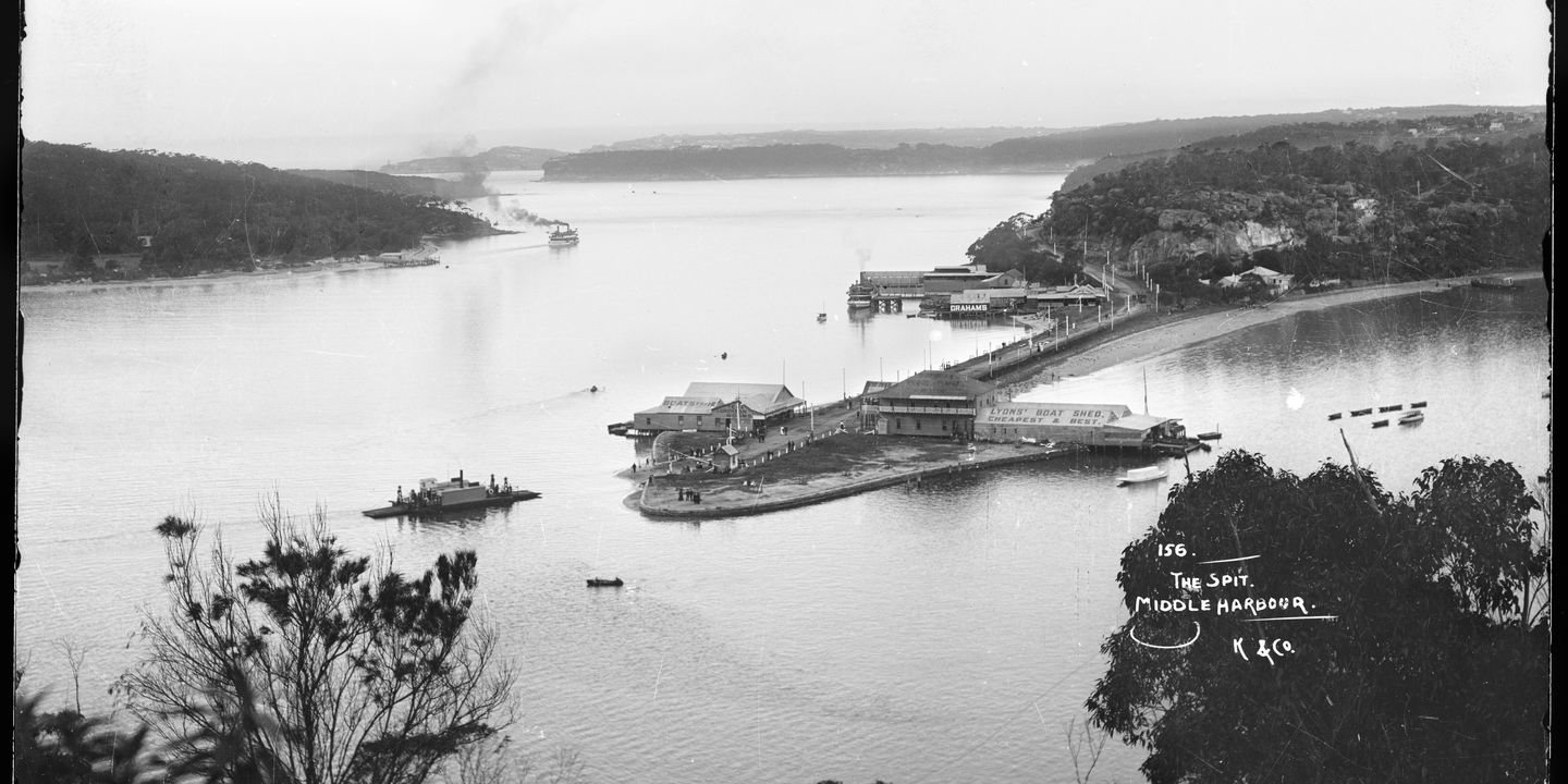 85/1284-2039 Glass negative, half plate, 'The Spit.  Middle Harbour', Kerry and Co., c. 1890. Click to enlarge.