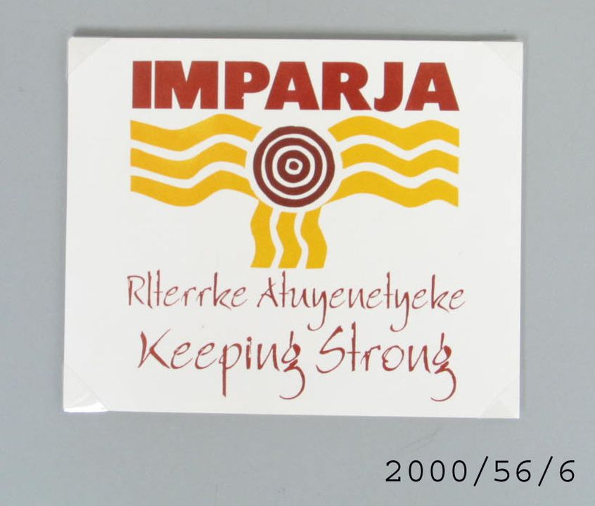 2000/56/6 Sticker, Imparja Television, paper, Imparja Television Pty Ltd, Alice Springs, Northern Territory, Australia, 1999. Click to enlarge.