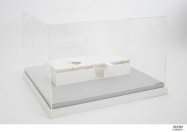 92/1994 Architectural model and cover, 'The House of the Future', acrylic, designed by architect Harry Seidler in 1954, made by R & F Porter Modelmakers Pty Ltd, Sydney, Australia, 1992
