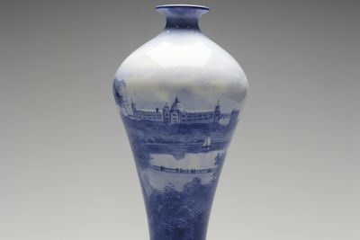 2000/138/1 Vase, images of Farm Cove and the Garden Palace, Sydney, New South Wales, Australia, earthenware, hand painted by Leonard Bentley for Doulton and Co, Burslem, Staffordshire, England, 1882-86