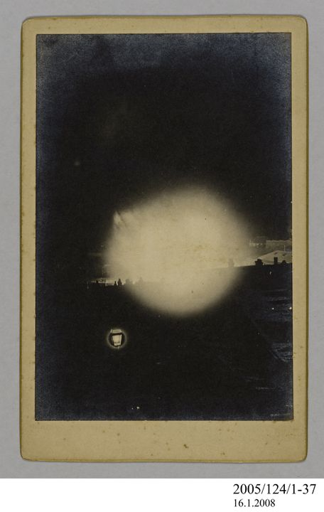 2005/124/1-37 Photograph, part of collection owned by James Short, black and white, flame at Miller's Point, mounted, card / paper, photographed by Henry Chamberlain Russell, Sydney, New South Wales, Australia, December 1890. Click to enlarge.