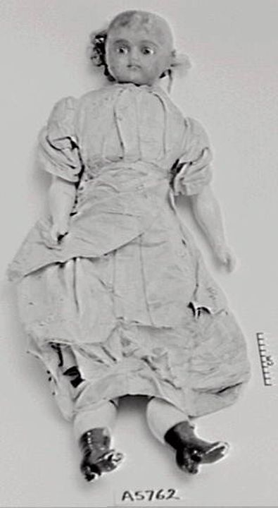 A5762 Doll, female, wax/composition/glass/cotton/sawdust/silk, [Germany], 1870-1900. Click to enlarge.