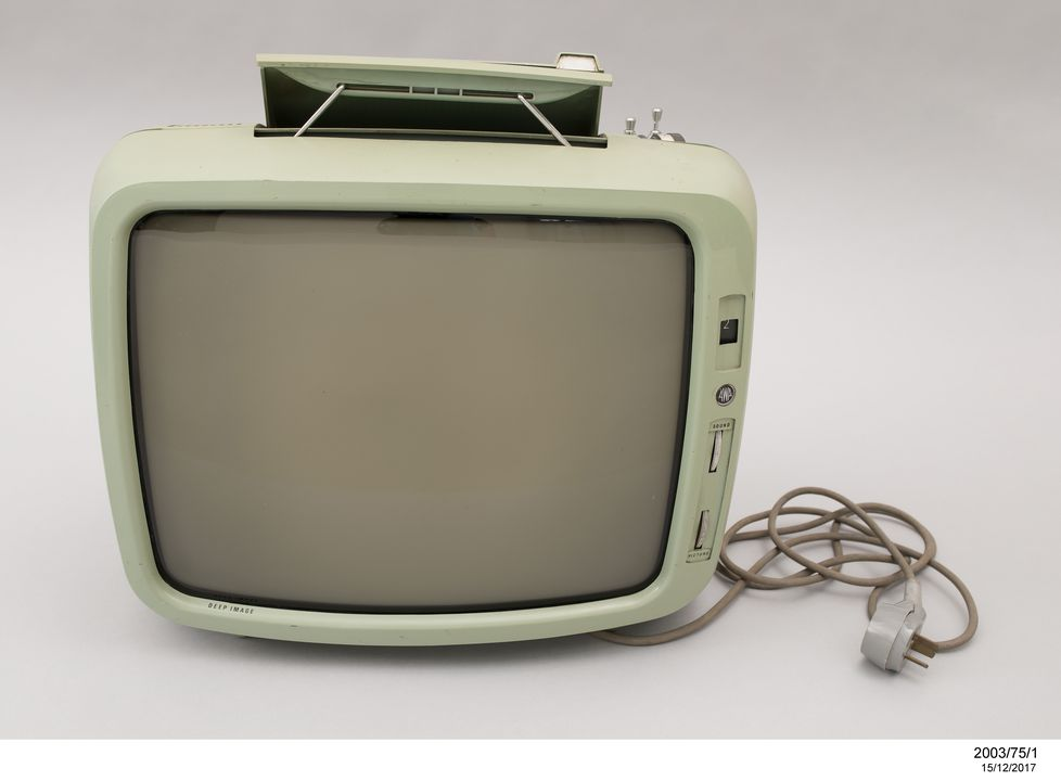 2003/75/1 Portable television, 17 inch portable black and white, AWA model P4, metal / plastic / electronic components, designed by William F Moody, made by Amalgamated Wireless (Australasia) Ltd (AWA), Sydney, New South Wales, Australia, 1969. Click to enlarge.