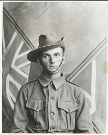 P2903-1/17 Photographic print, black and white, portrait of Geoffrey Hargrave, Lawrence's son, in AIF uniform, 1914-15, copy print made c1977