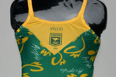 92/1624 Womens swimsuit, 1988 Seoul Olympic Games, as used by the Australian Team, nylon / lycra, Speedo Australia Pty Ltd, Australia, 1988