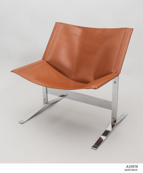 A10576 Chair, 'Sling chair', steel framework / leather seat and back, designed by Clement Meadmore, 1963, made by Tecno-Design 250 Pty Ltd, Melbourne, Victoria, Australia, c 1984. Click to enlarge.