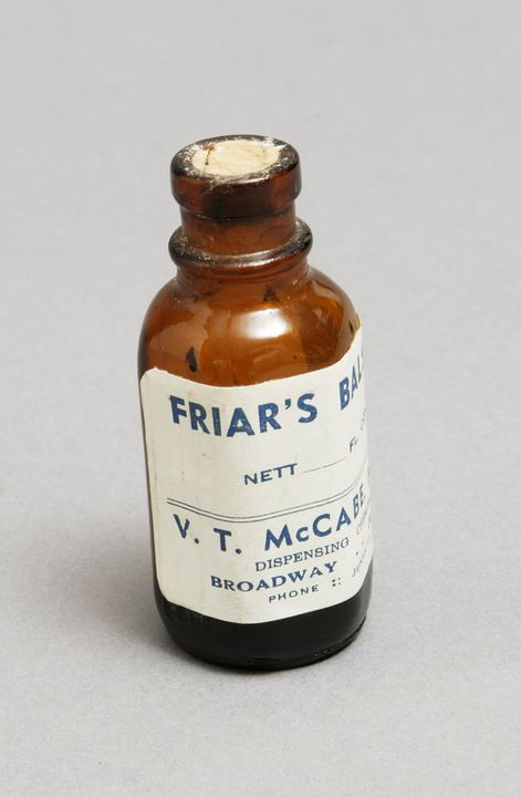 2003/116/1 Medicine bottle and contents, 'Friar's Balsam', glass / paper / cork / tincture of benzoin gum, VT McCabe Dispensing Chemist, Junee, New South Wales, Australia, [1960-1980]. Click to enlarge.