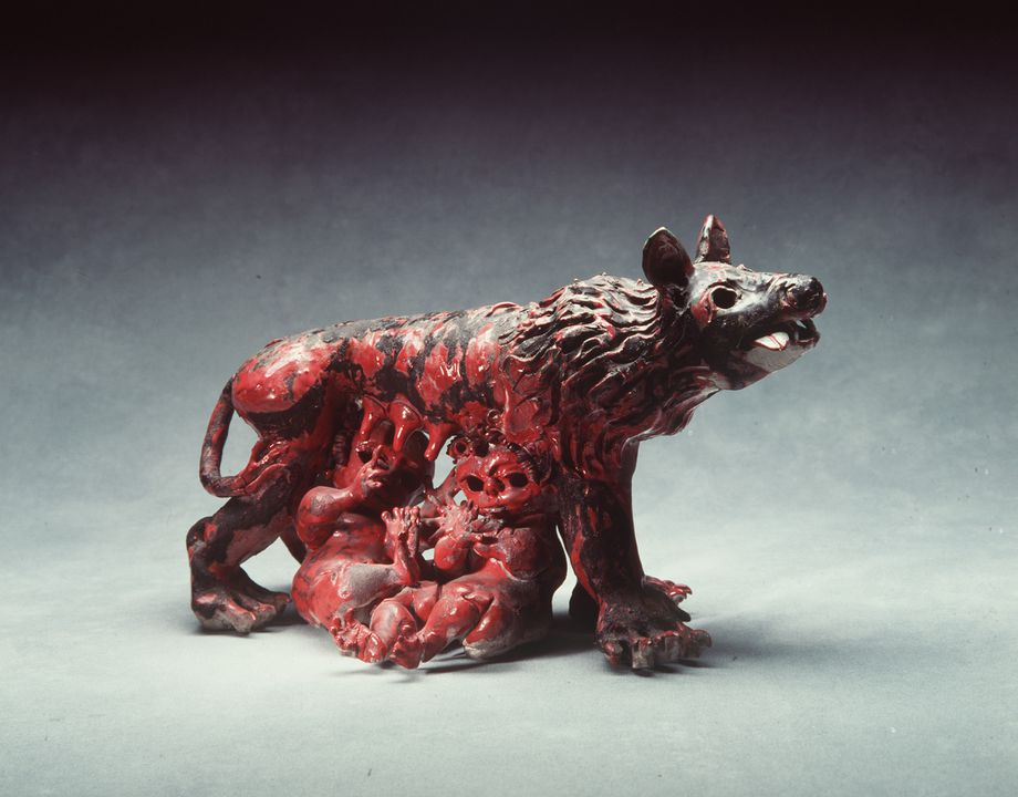 91/397 Ceramic sculpture, 'Romulus and Remus with Wolf Mother', earthenware with 'sang-de-boeuf' glaze, designed and made by John Perceval, Murrumbeena, Victoria, Australia, 1961. Click to enlarge.