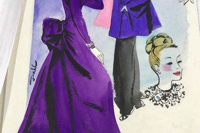 92/191-18/1 Magazine fashion layout, gouache painting on board. Illustrating evening wear