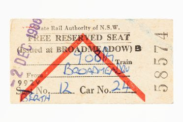 87/897-2 Railway ticket (1 of 311), 'Free Reserved Seat', issued at Broadmeadow, paper, State Rail Authority of NSW, New South Wales, Australia, 1986