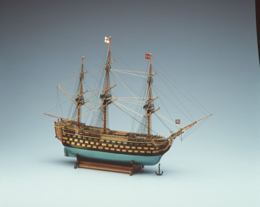 H5074 Ship model, HMS 'Victory', 1/16th scale, wood / metal, model made by A. C. Hansen, Australia, c. 1940. Click to enlarge.