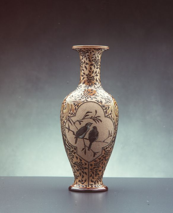 2835 Vase, stoneware, made by Doulton, decorated by Florence E. Barlow, England, 1883.. Click to enlarge.