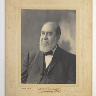 95/239/24 Photographic print, mounted on card, portrait of Henry Chamberlain Russell taken in 1898, paper / possibly platinum print, photographer J. Hubert Newman, Sydney, Australia, 1898