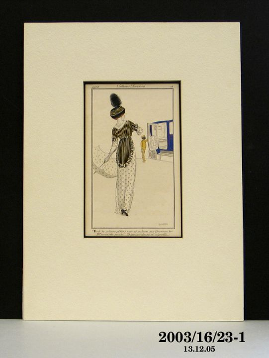 2003/16/23-1 Fashion plate and mount, part of collection, 'Costumes Parisiens 18' from 'Journal des Dames et des Modes', paper, designed by Fernand Simeon, Paris, France, 1912. Click to enlarge.