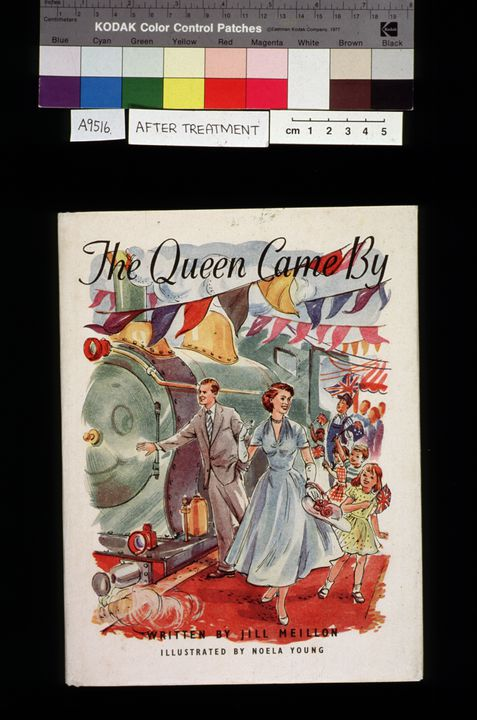 A9516 Book, 'The Queen Came By', written by Jill Meillon, illustrated by Noela Young, 1v, illustrated (some colour), dust jacket inscribed, published by Uresmith, Australia, 1954 (OF).. Click to enlarge.
