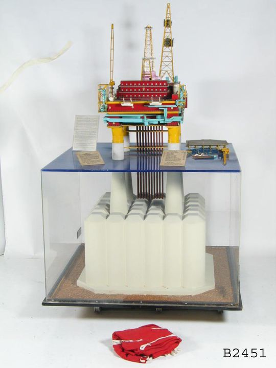 B2451 Model, 'Brent 'C' offshore oil rig and production platform', 1:100 scale, for Shell UK Exploration and Production Ltd, plastic / wood / metal / textile, made by Matthew Hall Engineers Ltd, United Kingdom, c.1970- c.1979. Click to enlarge.