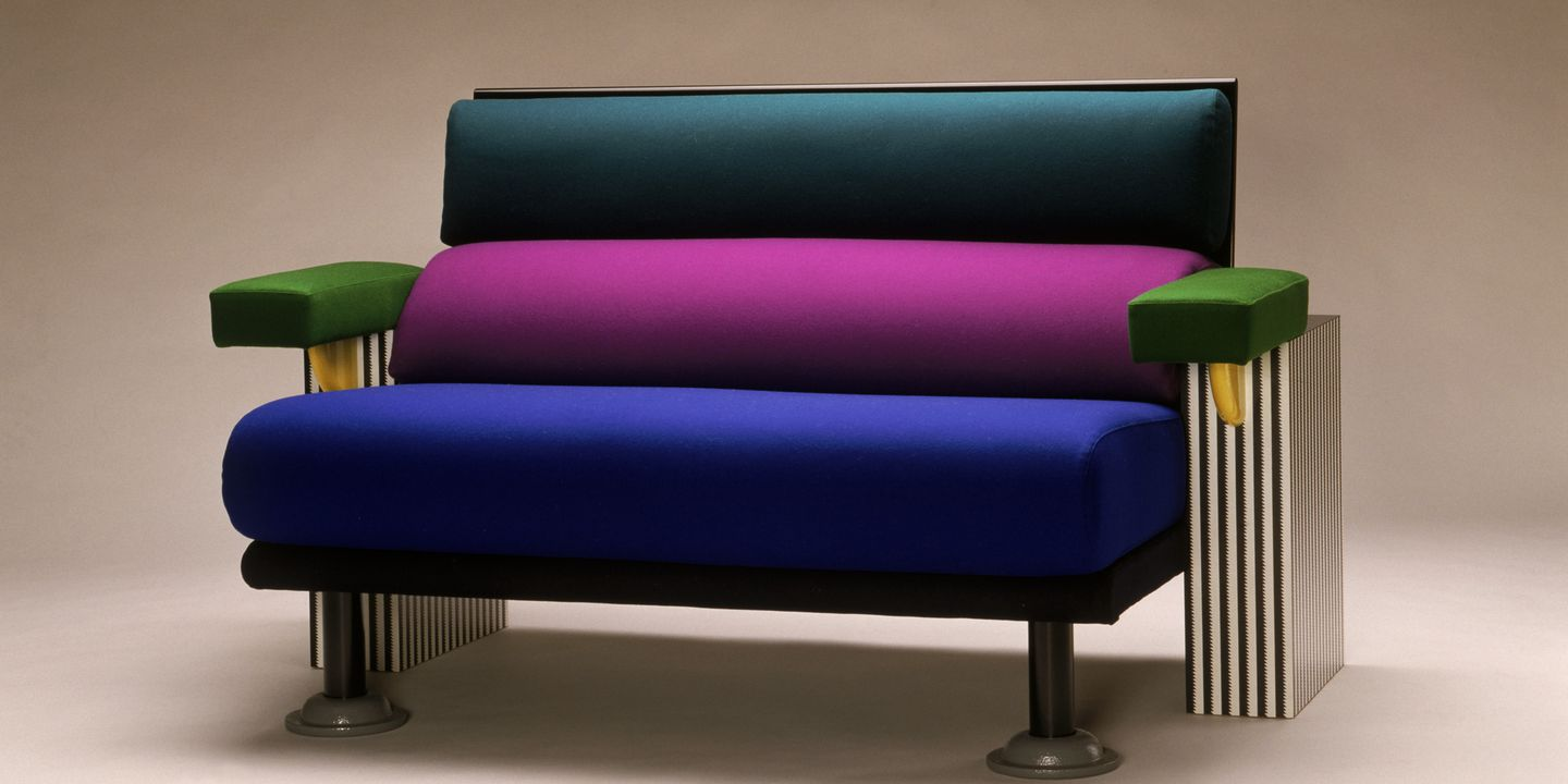 86/1013 Couch, 'Lido', wood / fabric / plastic / metal, designed by Michele de Lucchi, made by Memphis, Italy, 1982. Click to enlarge.