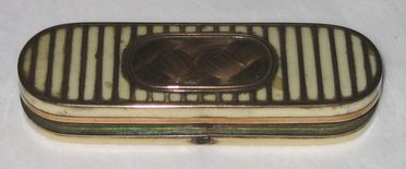 H5120-3 Trinket box, part of collection, lozenge shaped, ivory and gold, maker unknown, made in England, 1837-1860