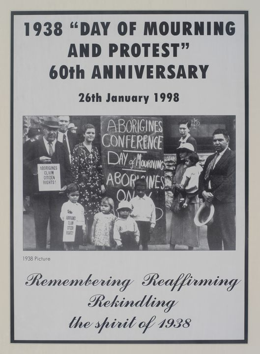 2003/151/1 Poster, '1938 Day of Mourning and Protest', ink / paper, designed and made by Brenda Palma (nee Saunders), Sydney, New South Wales, Australia, 1998. Click to enlarge.
