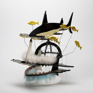 2000/14/1 Dance mask, 'Beizam Shark Headdress with Bait Fish', plywood / wire / metal / shark's teeth / feathers / synthetic polymer paint, made by Ken Thaiday, Cairns, Australia, 1995