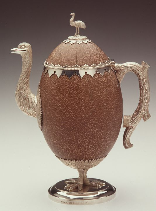 A6540 Teapot, silver / emu egg, made by Evan Jones, Sydney, New South Wales, Australia, c. 1870. Click to enlarge.