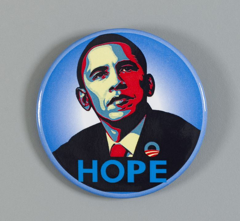 Barack Obama campaign button and pin shepard fairey art president inauguration