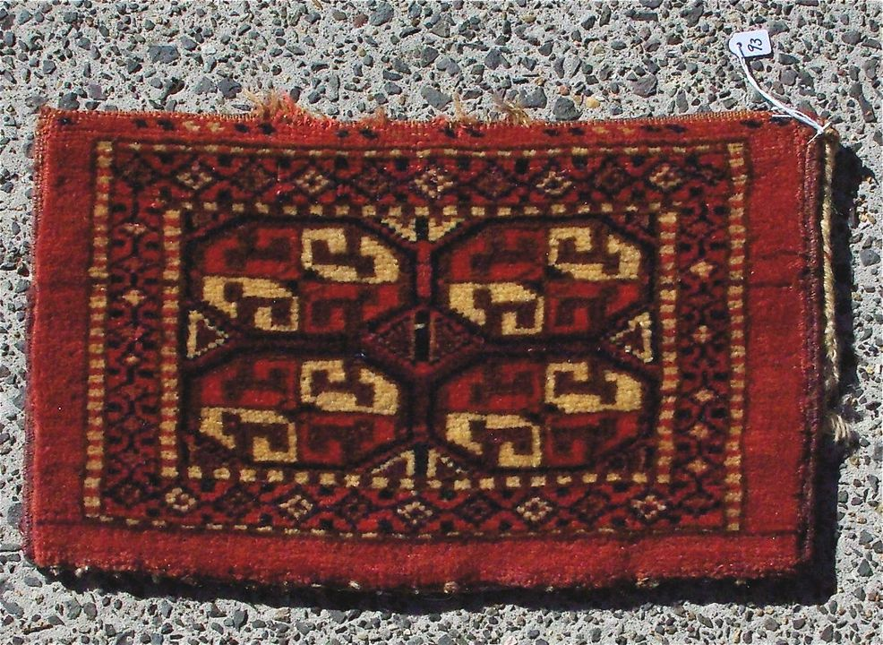2015/26/69 Storage bag (kap), symmetrically knotted pile, wool, made by Yomut Turkmen women, Turkmenistan or eastern Iran, mid 1800s. Click to enlarge.