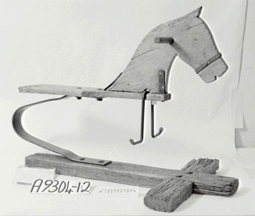A9304 Toy, rocking horse, homemade, wood / metal, South Australia, c. 1850-1900. Click to enlarge.
