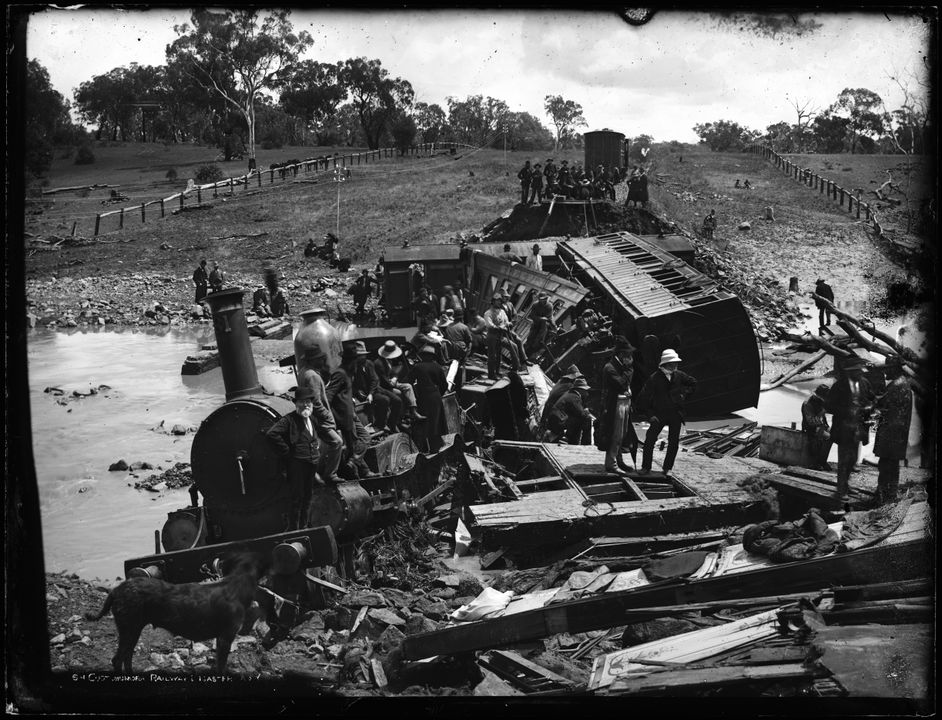 85/1285-502 Glass plate negative, full plate, 'Cootamundra Railway Disaster, N.S.W.', Henry King, Sydney, Australia, 1885. Click to enlarge.