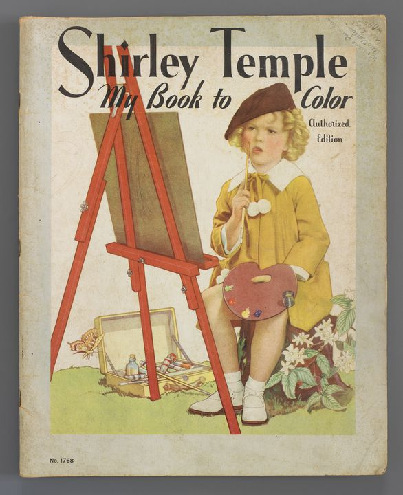 2012/5/6 Children's colouring book, 'Shirley Temple My Book to Color', 'Authorized Edition', 'No.1768', paper / cardboard, made by The Saalfield Publishing Company, Akron, Ohio and New York, United States of America, 1937, used by Daphne Kingston, Mackay, Queensland, Australia, 1937-1940. Click to enlarge.