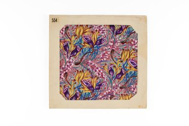 2002/88/1-5/3 Textile design, featuring wildflowers design, numbered 554, gouache on paper, designed by Shirley de Vocht (nee Martin), Sydney, New South Wales, Australia, c. 1945-1955