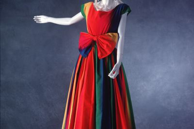 90/666 Evening dress, women's, cotton, hand painted, 'Rainbow', Linda Jackson, Australia, 1988