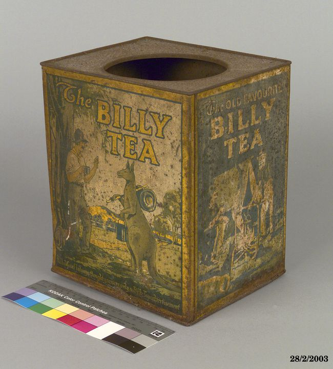 2003/35/9 Billy Tea tin, metal, part of shop stock, Wong family, maker unknown, Australia, 1875-1916. Click to enlarge.