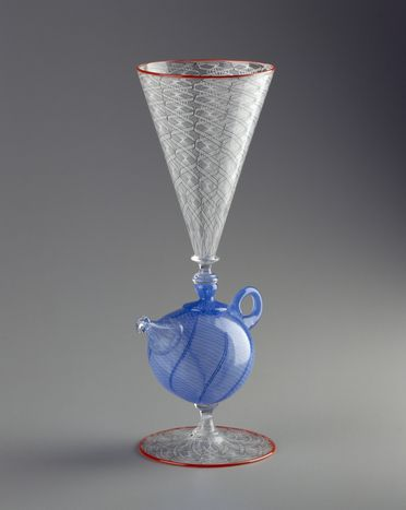 94/104/2 Goblet, teapot-shaped stem, blown glass, made by Richard Marquis and Dante Marioni, Canberra, Australian Capital Territory, Australia, 1994
